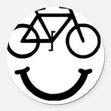 Smile Bike Black Round Car Magnet