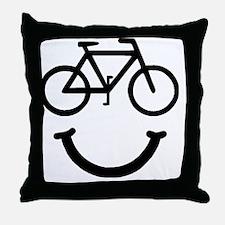 Smile Bike Black Throw Pillow