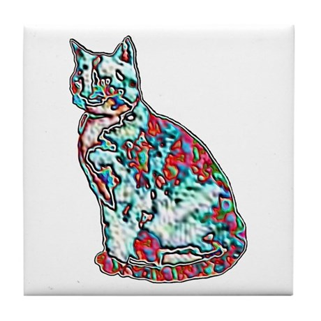 NEON CAT Tile Coaster