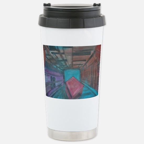 Abstract Cube Stainless Steel Travel Mug