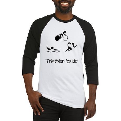 Triathlon Dude Black Baseball Jersey