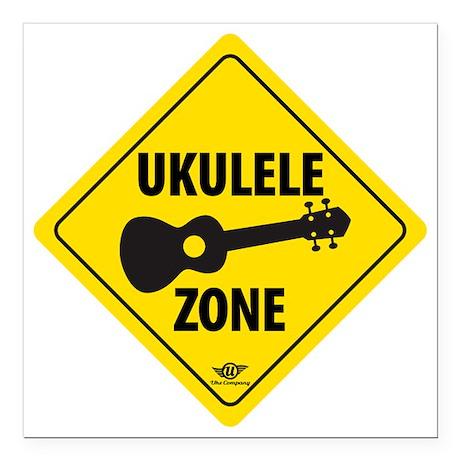 """Ukulele Zone Square Car Magnet 3"""" x 3"""""""