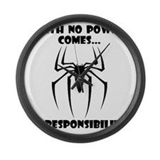 No Responsibility Black Large Wall Clock