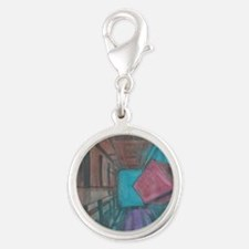 Abstract Cube Silver Round Charm