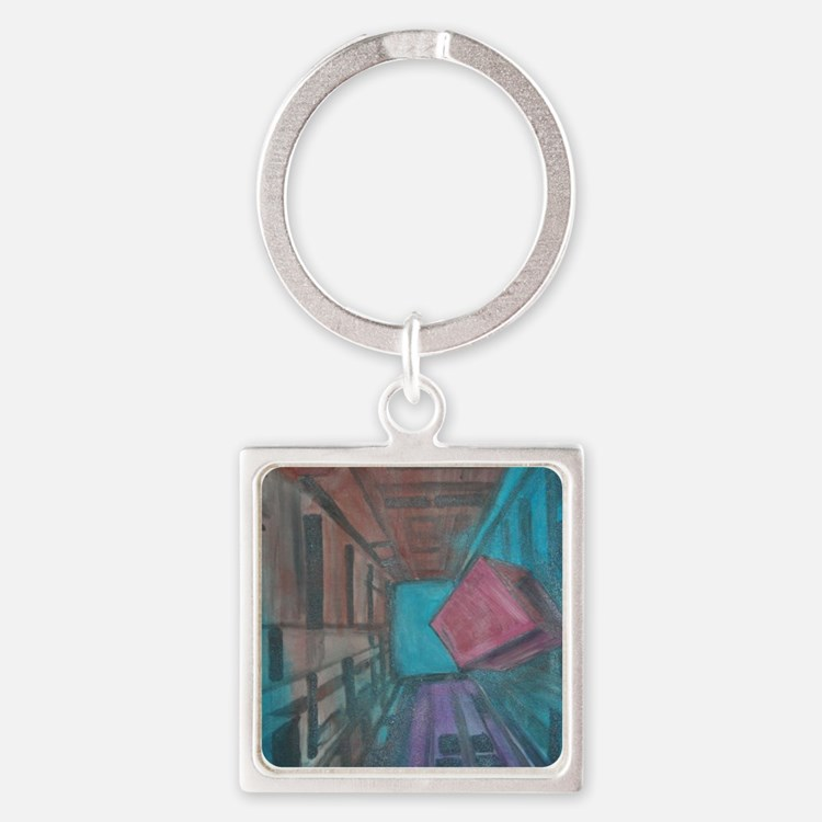 Abstract Cube Square Keychain