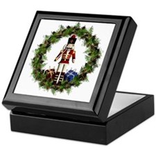 Red Nutcracker Wreath Square Keepsake Box