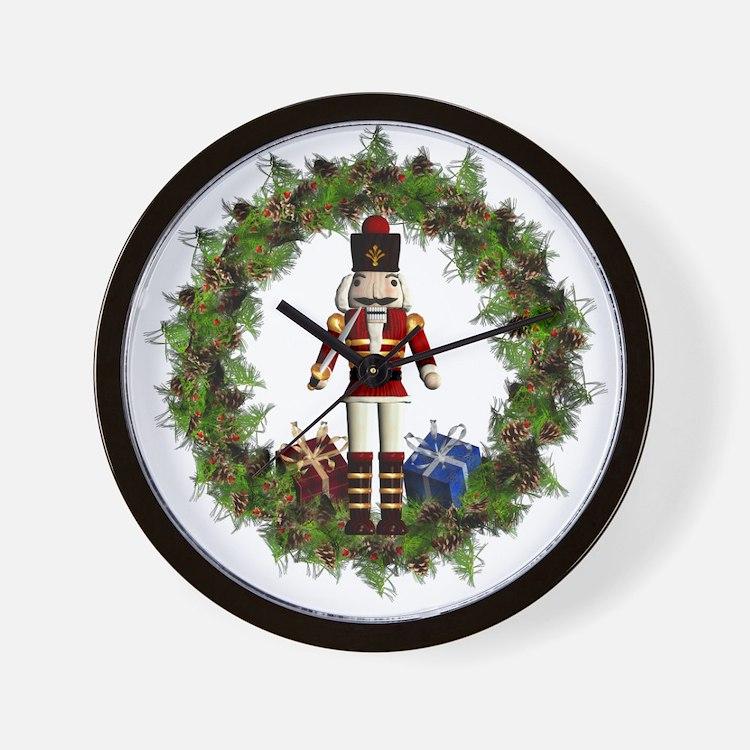 Red Nutcracker Wreath Wall Clock
