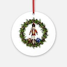 Red Nutcracker Wreath Ornament (round)