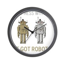 Robot Mess Brown Grey Wall Clock