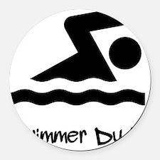 Swimmer Dude Black Round Car Magnet