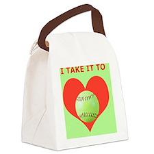 Softball iPhone 4 Slider Case, Ta Canvas Lunch Bag