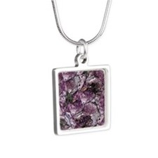 AMETHYST Silver Square Necklace