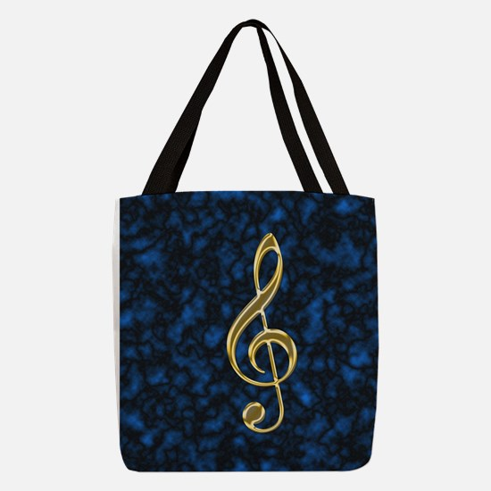 Golden Treble Clef Polyester Tote Bag