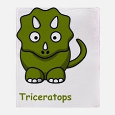 Triceratops Green Throw Blanket