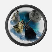 New Wolfs moon 2 Large Wall Clock