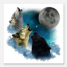 """New Wolfs moon 2 Square Car Magnet 3"""" x 3"""""""