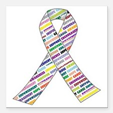 "all cancer rep ribbon 2 Square Car Magnet 3"" x 3"""