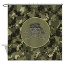nautical pirate skull hunter camouf Shower Curtain