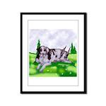 Harlequin Great Dane Duo Framed Panel Print