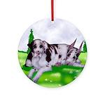 Harlequin Great Dane Duo Ornament (Round)
