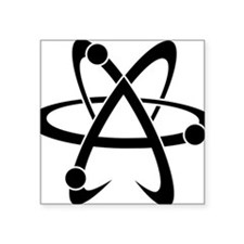 "Atheist A black Square Sticker 3"" x 3"""
