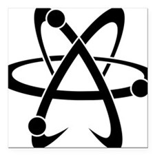 "Atheist A black Square Car Magnet 3"" x 3"""