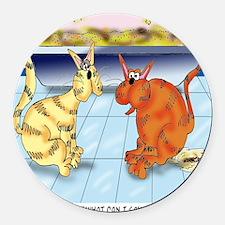 6895_cat_cartoon Round Car Magnet