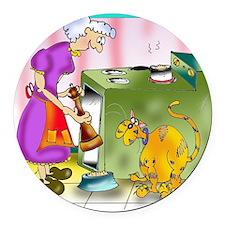 6847_cat_cartoon Round Car Magnet