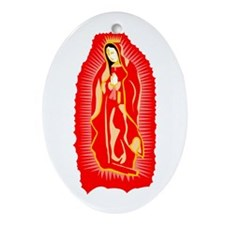 Our Lady of Guadalupe - Red Oval Ornament