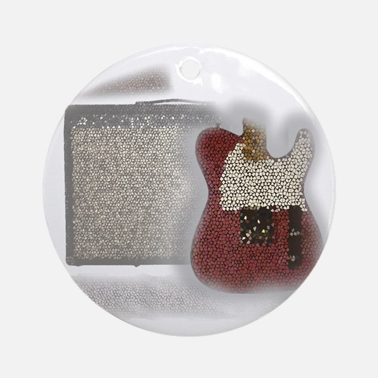 guitar and amp mosaic Round Ornament