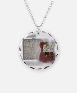 guitar and amp mosaic Necklace