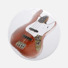 jazz bass distressed red Round Ornament