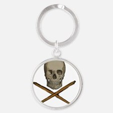 skull and stick bones Round Keychain