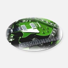 green guitar collection. Oval Car Magnet