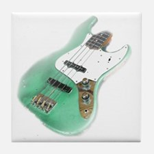 jazz bass distressed green Tile Coaster