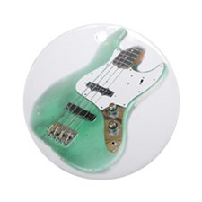 jazz bass distressed green Round Ornament