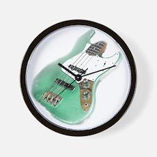 jazz bass distressed green Wall Clock