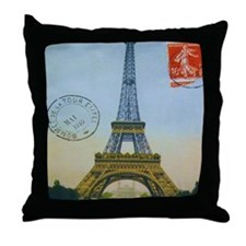 eiffelpostcardmpad Throw Pillow