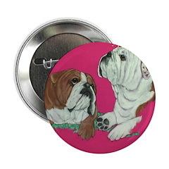 English Bulldog Pair Button