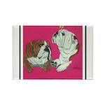 English Bulldog Pair Rectangle Magnet (100 pack)