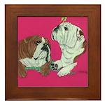 English Bulldog Pair Framed Tile
