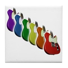 Rainbow Guitar Tee Tile Coaster