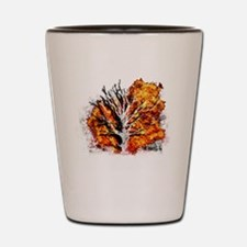 burning tree Shot Glass