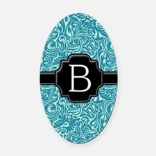 slider_monogram_damask_B_10 Oval Car Magnet