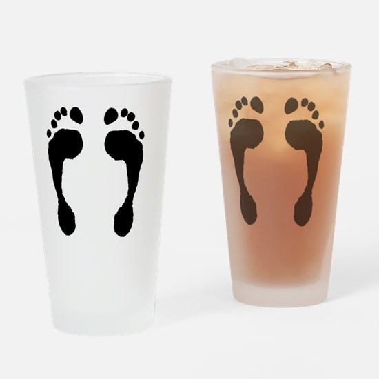 Footprint_FlipFlops_001_black_on_wh Drinking Glass