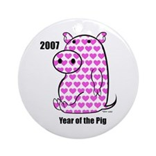 YEAR OF THE HEART PIG Ornament (Round)