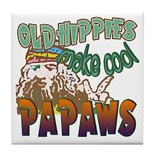 OLD HIPPIES MAKE COOL PAPAWS Tile Coaster