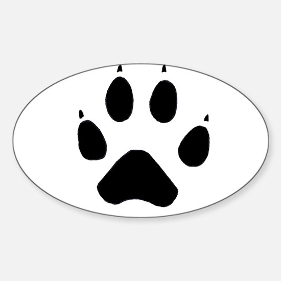 Wolf Paw Oval Decal