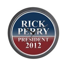 rick perry round button Wall Clock