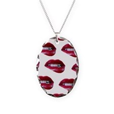 mouths Necklace Oval Charm
